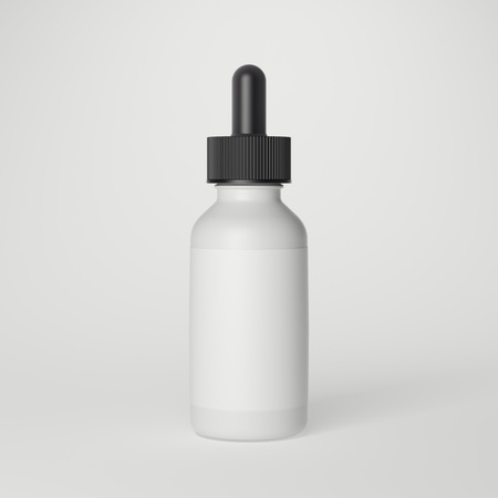 vaporizer: White plastic bottle with label on gray background. 3d rendering