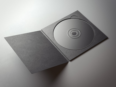 compact disk: Blank black compact disk cover on gray floor. 3d rendering