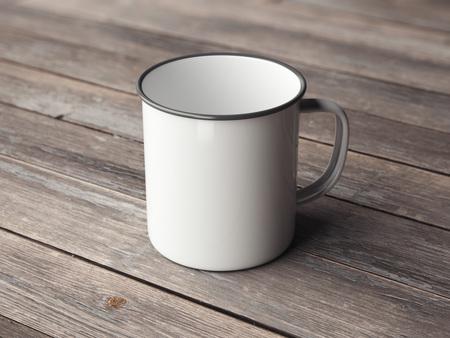 Weiße leere Emaille Tasse auf Holzboden. 3D-Rendering