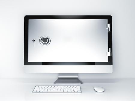 Internet security concept. Beeldscherm met kluisdeur op een witte achtergrond. 3D-rendering