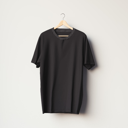 Black blank t-shirt on a wooden hanger in bright room. 3d rendering