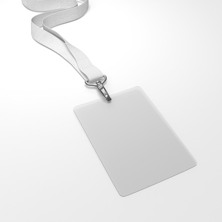 neckband: Blank badge with neckband and white tape. 3d rendering