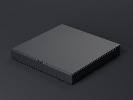 packer: Black package on dark floor. 3d rendering