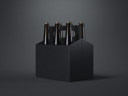 Black blank beer packaging with brown bottles on dark floor. 3d rendering