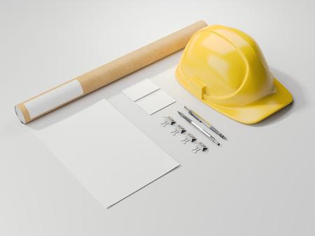 yellow helmet: Modern branding mockup with yellow helmet. 3d rendering