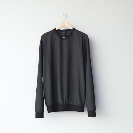 casual hooded top: Black blank sweatshirt in white studio. 3d rendering
