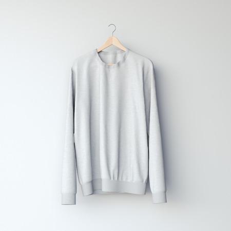 casual hooded top: Gray blank sweatshirt in white studio. 3d rendering