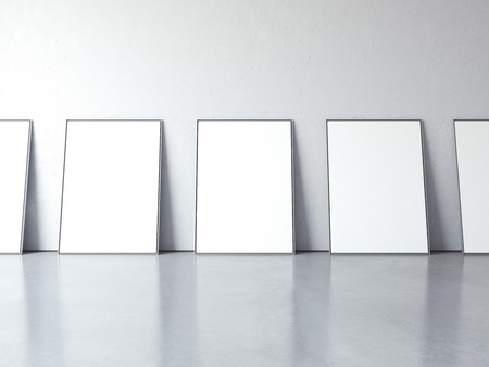 white canvas: White blank picture frames in bright interior. 3d rendering Stock Photo
