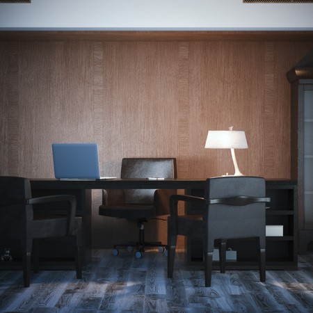 classic interior: Interior with classical workplace and wood wall. 3d rendering