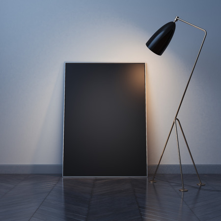 wall design: Blank black canvas on the wood floor with modern lamp. 3d rendering