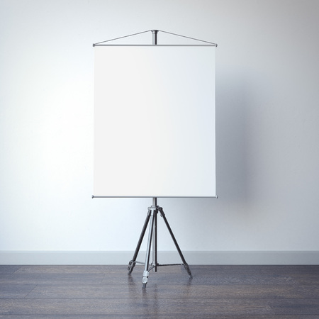 White blank presentation roller screen in bright room. 3d rendering
