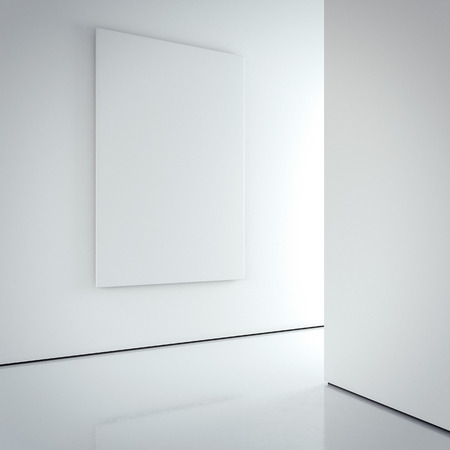 interior wall: White blank canvas on the bright wall in modern gallery interior. 3d rendering