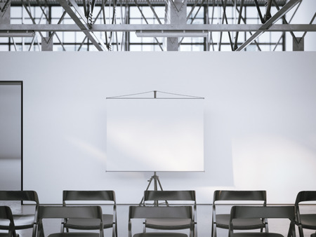 school classroom: White blank presentation roller screen in modern conference room. 3d rendering