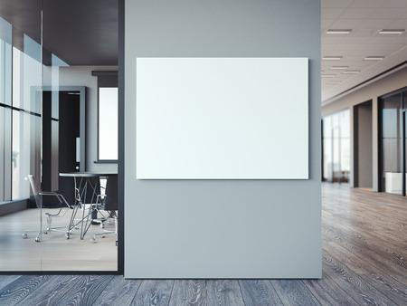 현대 사무실 회색 벽에 빈 흰색 캔버스. 3 차원 렌더링