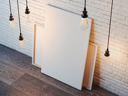 Blank white canvas with glowing bulbs in the modern loft interior with brick wall. 3d rendering 写真素材