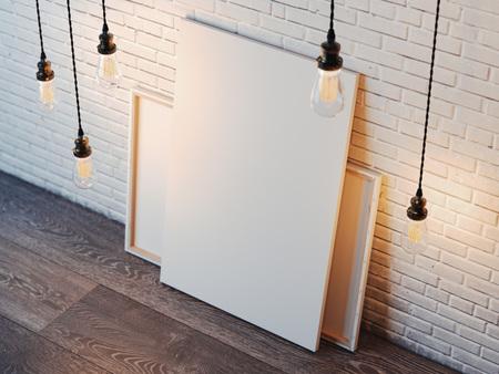 Blanco witte doek met gloeiende lampen in de moderne loft interieur met bakstenen muur. 3D-rendering