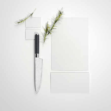 Restaurant mockup with sharp knife on bright floor. 3d rendering Imagens