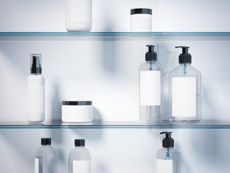 Glass shelves with set of beauty hygiene containers in bright studio. 3d rendering