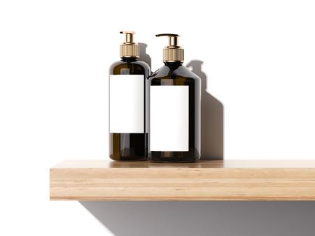 Belleza cosméticos envases de plástico en un estante de madera en estudio luminoso. Representación 3D