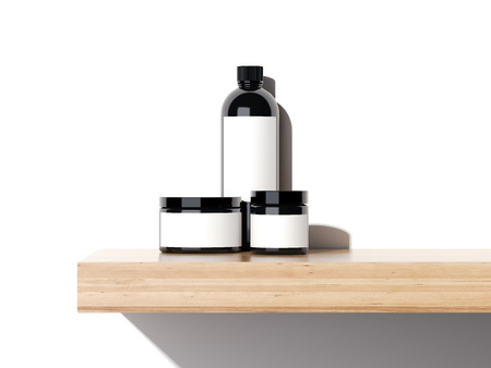 Beauty plastic containers on a wooden shelf in bright studio. 3d rendering
