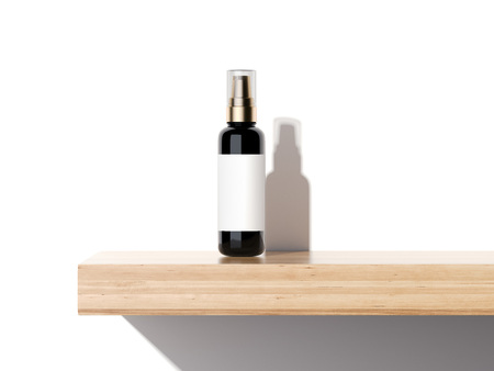 Beauty plastic container on a wooden shelf in bright studio. 3d rendering Stockfoto