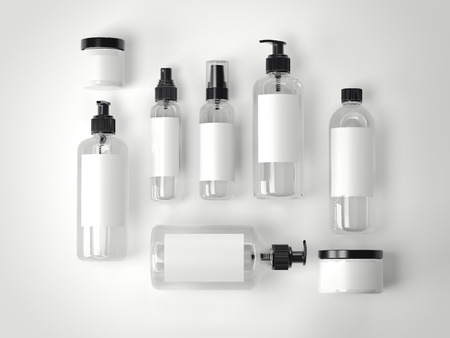 白い床に美容化粧品プラスチック容器のセットです。3 d レンダリング
