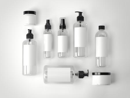 frasco: Conjunto de belleza cosméticos envases de plástico en un suelo blanco. Representación 3D Foto de archivo