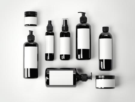 흰색 바닥에 검은 아름다움 화장품 플라스틱 용기 집합입니다. 3d 렌더링