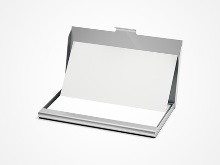 Metal business card case on a white floor. 3d rendering
