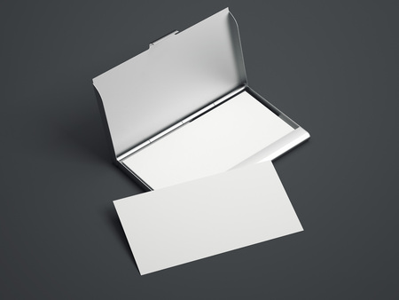 business case: Silver case with white blank business cards on a gray floor. 3d rendering