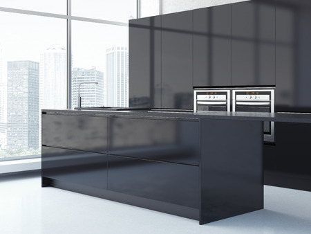 fitted: Black kitchen. Clean bright interior. 3d rendering