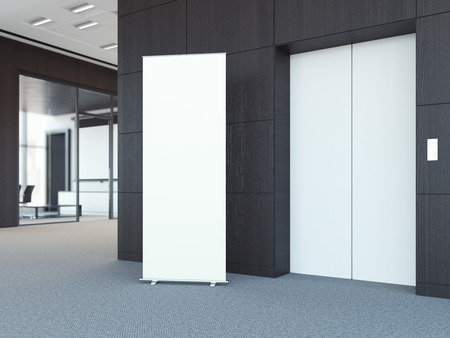 Blank roll up bunner in the modern office lobby with dark wooden walls. 3d rendering