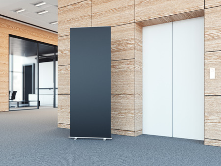 bunner: Blank roll up bunner in the modern office lobby with wooden walls. 3d rendering