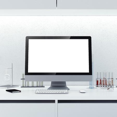 Moderner Arbeitsplatz mit leeren Bildschirm in einem sauberen Labor. 3D-Rendering
