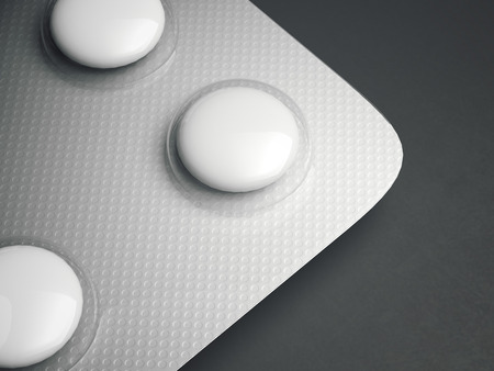 aluminum background: Bright aluminum blister pack of tablets on a gray background. 3d rendering