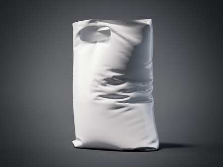 buttonhole: White plastic bag in a dark studio. 3d renderign