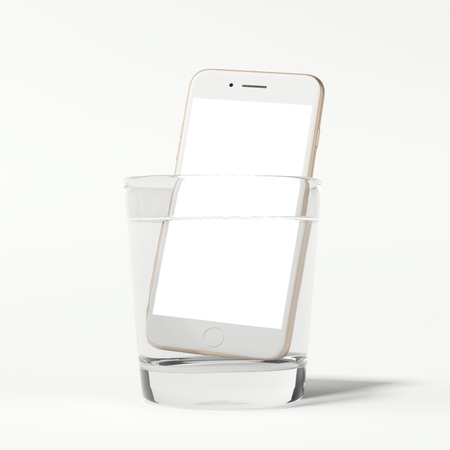 water repellent: Modern white smartphone in glass of water. 3d rendering