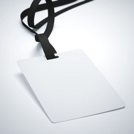 neckband: White badge with neckband and dark tape in bright studio. 3d rendering