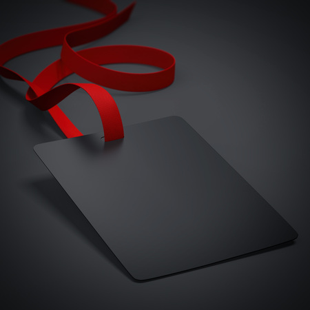 neckband: Black badge with neckband and red tape in bright studio. 3d rendering Stock Photo