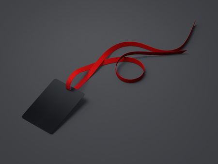 neckband: Black blank badge with neckband and red tape in bright studio. 3d rendering