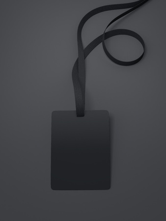 neckband: Black blank badge with neckband and dark tape in bright studio. 3d rendering