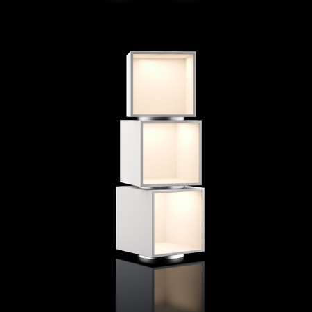shelf: Modern showcase with light isolated on black. 3d rendering