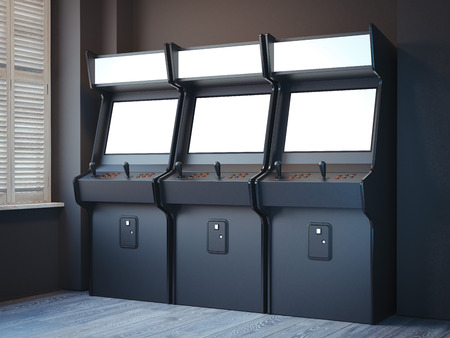 Three old gaming machines in a bright room with windows. 3d rendering Stock Photo