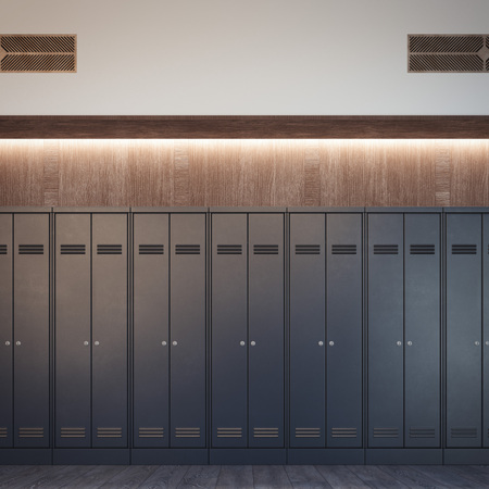 Luxury locker room with black cabinets and wood wall. 3d rendering