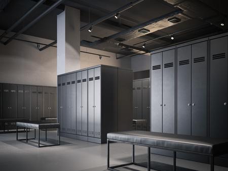 검은 캐비닛 로프트 인테리어에 현대 라커룸. 3d 렌더링