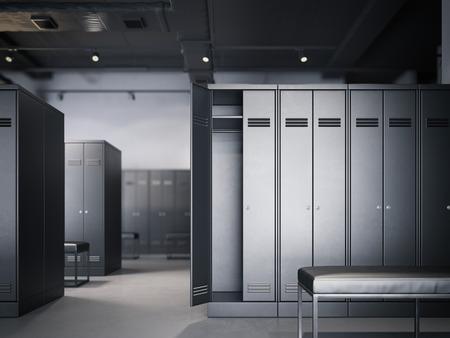 검은 캐비닛과 현대 다락방 인테리어에 라커룸. 3 차원 렌더링