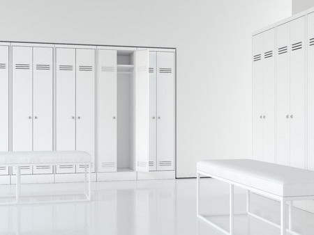 Clean bright interior of locker room with white cabinets. 3d rendering