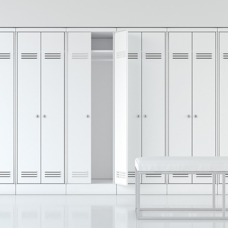 Bright interior of locker room with white cabinets. 3d rendering