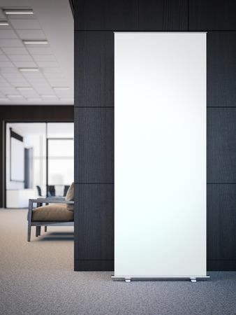 빈 흰색 롤 현대 사무실 내부에 배너. 3 차원 렌더링