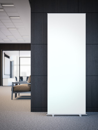 Blank white roll up banner in a modern office interior. 3d rendering